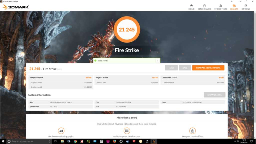 aorus gtx 1080 ti waterforce extreme 3DMark FireStrike