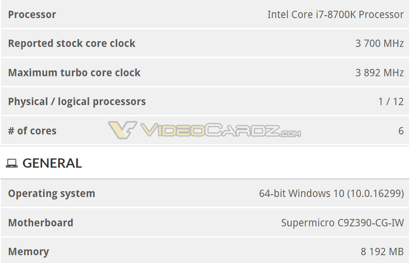 Benchmark chipset Z390 I7 8700K