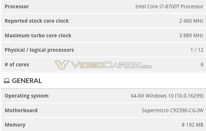 Benchmark chipset Z390 I7 8700T