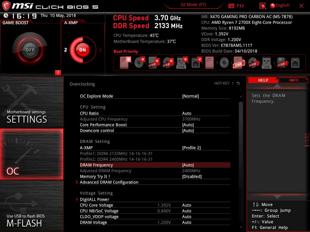 Test carte mère MSI X470 GAMING PRO CARBON AC BIOS