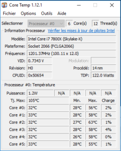 Test ASUS ROG STRIX X299-E GAMING températures