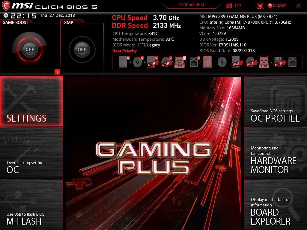 Test MSI MPG Z390 GAMING PLUS BIOS