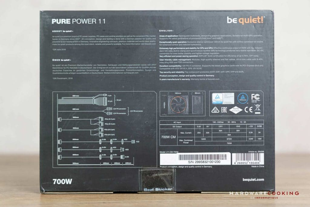 Test alimentation Be Quiet! Pure Power 11 700W CM