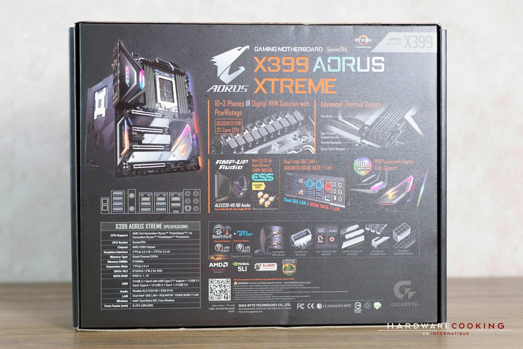 Test : X399 AORUS XTREME, idéale pour Threadripper