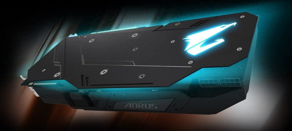 Aorus RTX 2080 Extreme Waterforce 8G vue de la backplate avec logo RGB