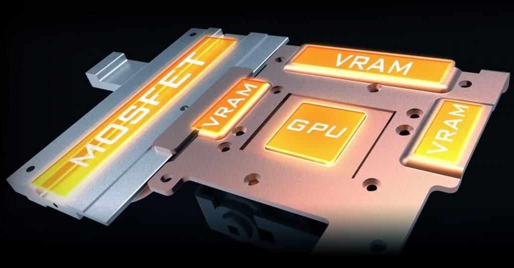Aorus RTX 2080 Extreme Waterforce 8G vue de la disposition sur le PCB