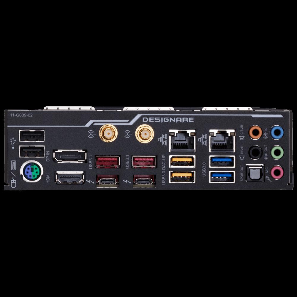 Gigabyte Z390 Designare vue de l'I/O shield