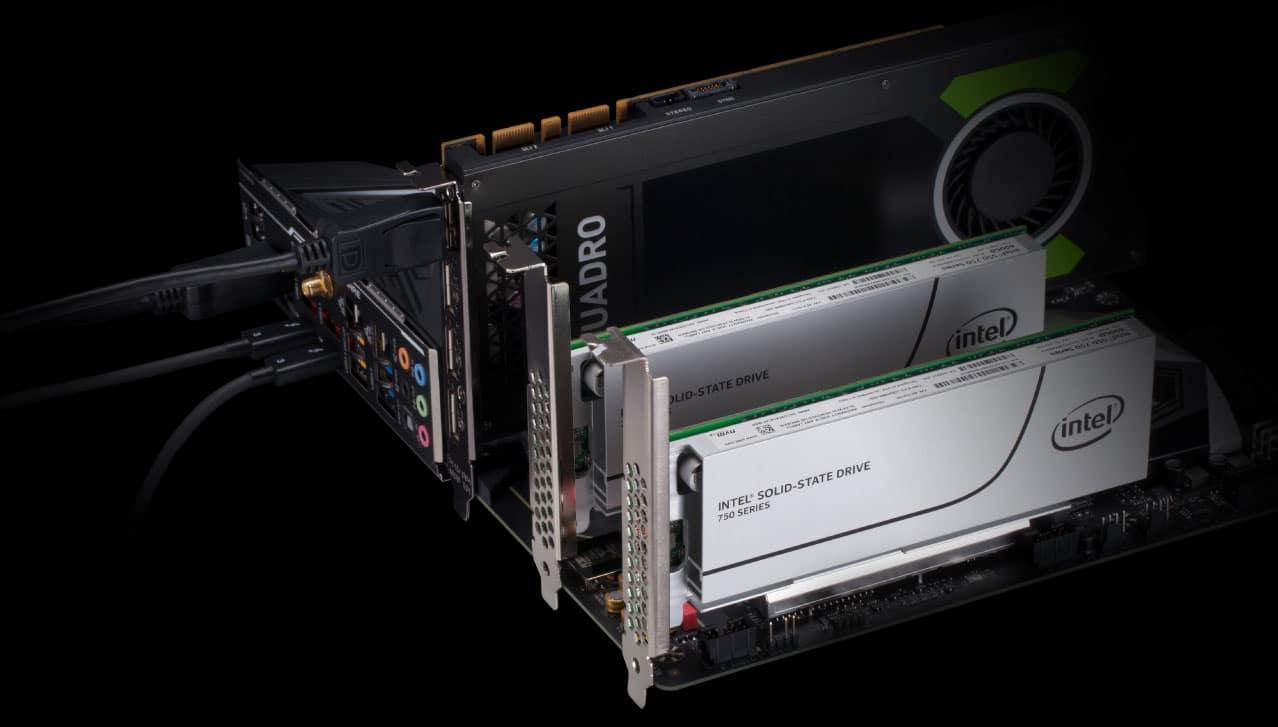 Gigabyte Z390 Designare vue d une configuration quadro et SSD Pci Express