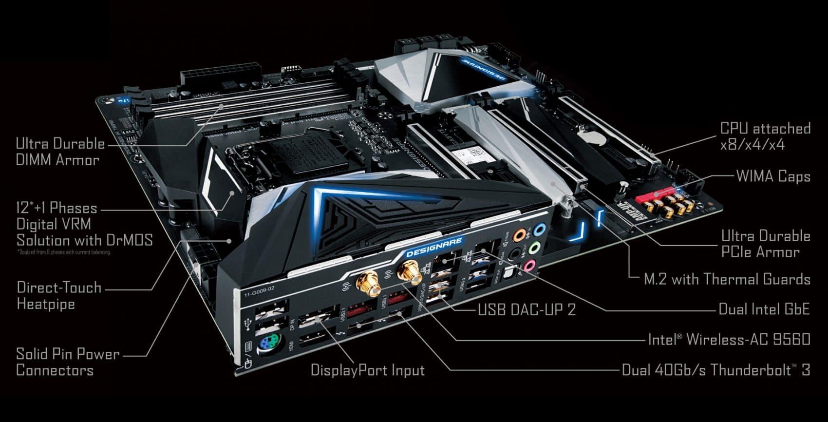 Gigabyte Z390 Designare vue des caracteristiques