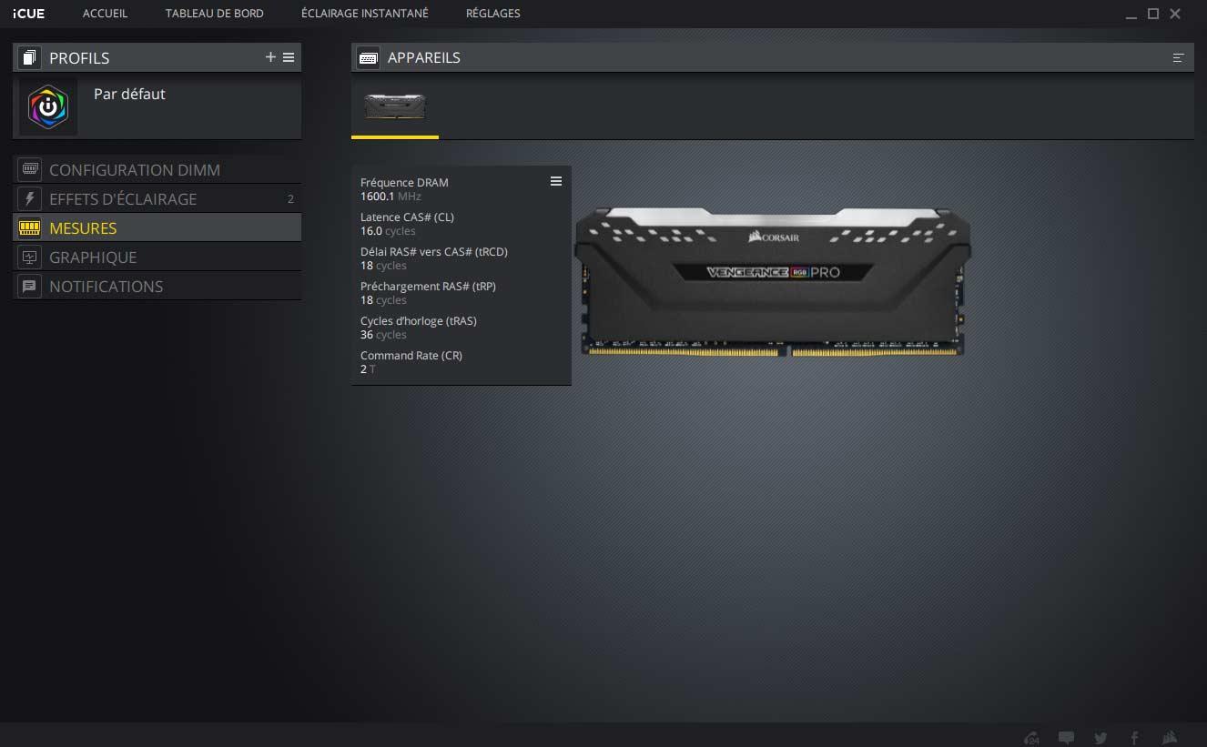 Test mémoire Corsair Vengeance RGB PRO DDR4 2 x 8 Go 3200MHz CAS 16 logiciel ICUE