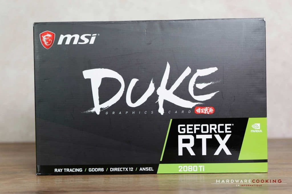 Test carte graphique MSI RTX 2080 Ti DUKE 11G OC