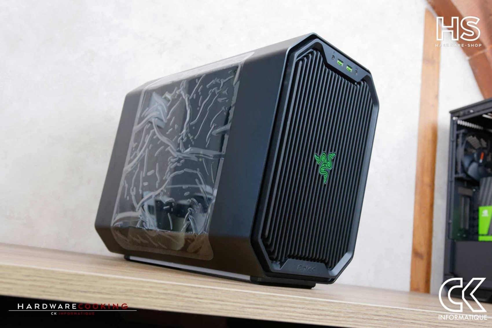 Build client Boîtier Antec Cube Razer watercooling custom par hardware-shop