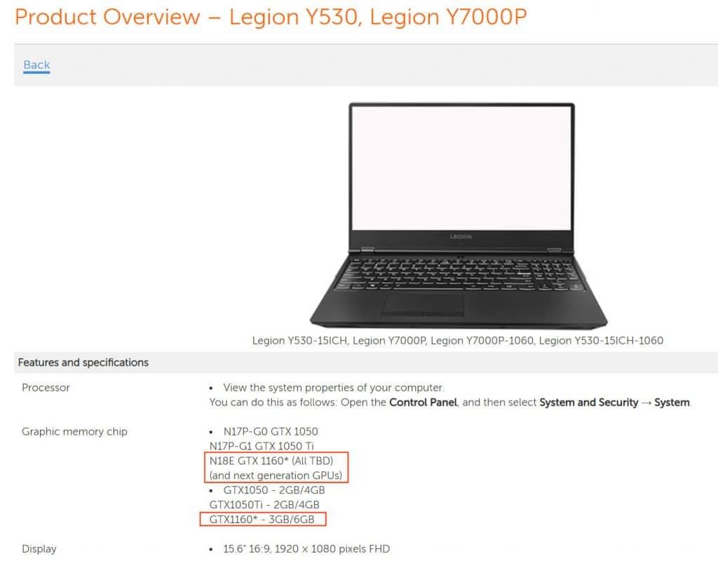 Laptop Lenovo Legion Y530 avec carte graphique Nvidia GTX 1160
