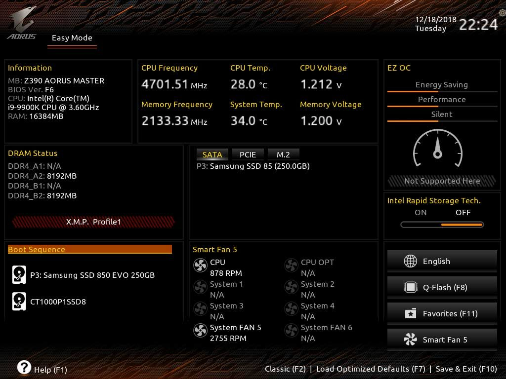 températures VRM carte mère Z390 AORUS MASTER avec processeur Intel Core i9-9900K OC 5 GHz