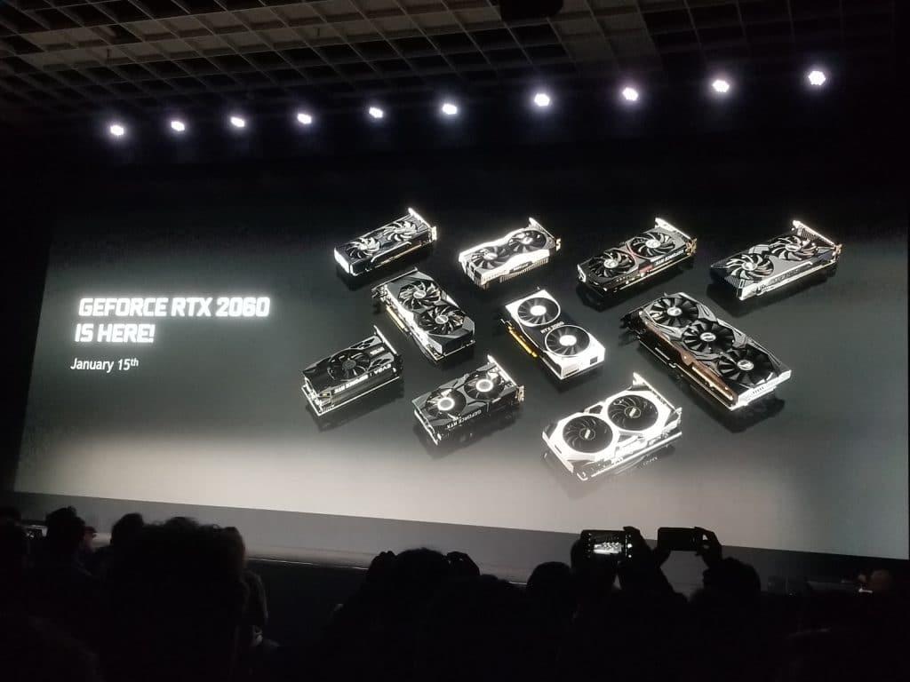 Présentation de la RTX 2060 durant la Nvidia Keynote au CES 2019