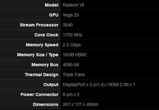 Cart egraphique MSI AMD Radeon VII