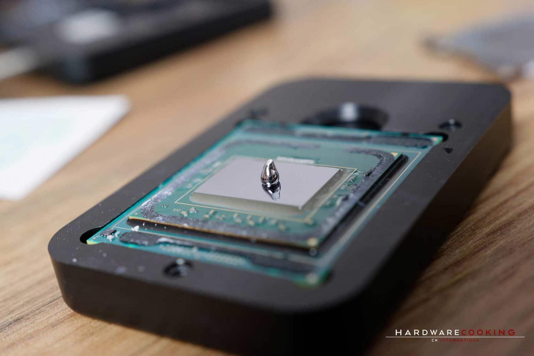 Test Rockit 99 délid CPU SkylakeX 2066 Intel Core i7-7800X avec IHS cuivre