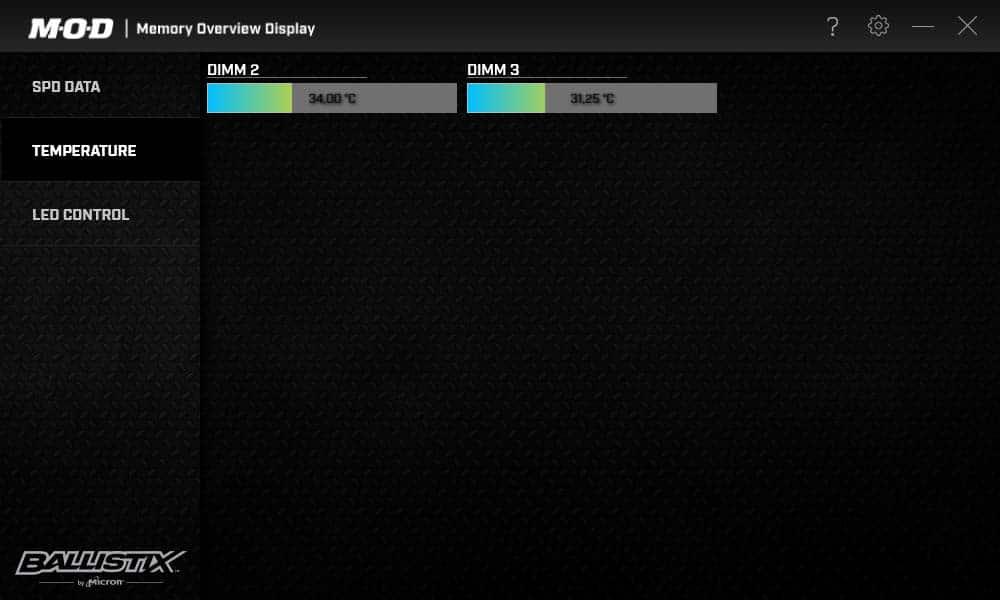 Test Ballistix Elite 3600 MHz Logiciel M.O.D températures