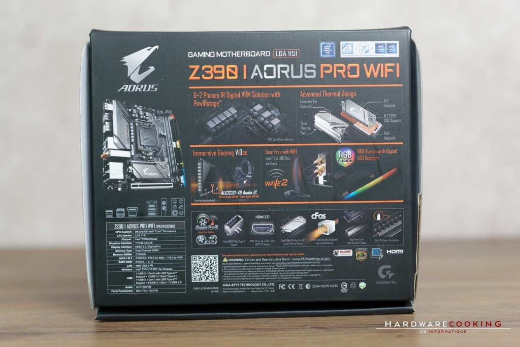 Boîte carte mère Z390 I AORUS Pro Wifi