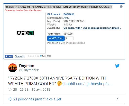 Tweet R7 2700X 50 ans d'AMD