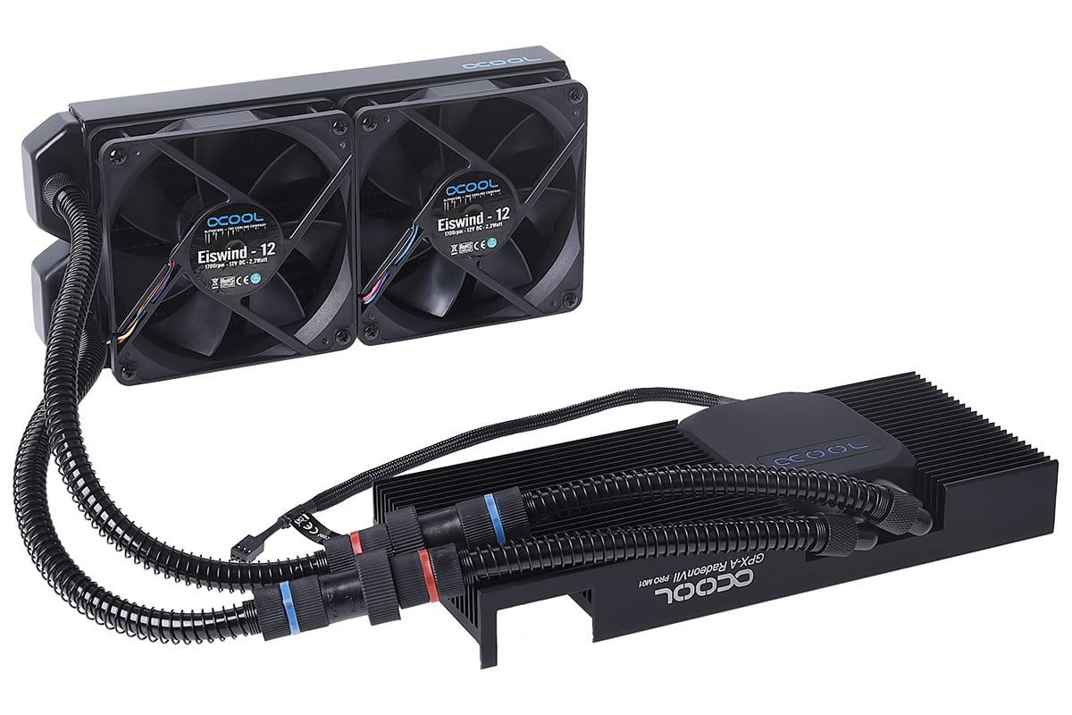 Alphacool Eiswolf GPX-Pro vue pompe, avec radiateur et ventilateurs