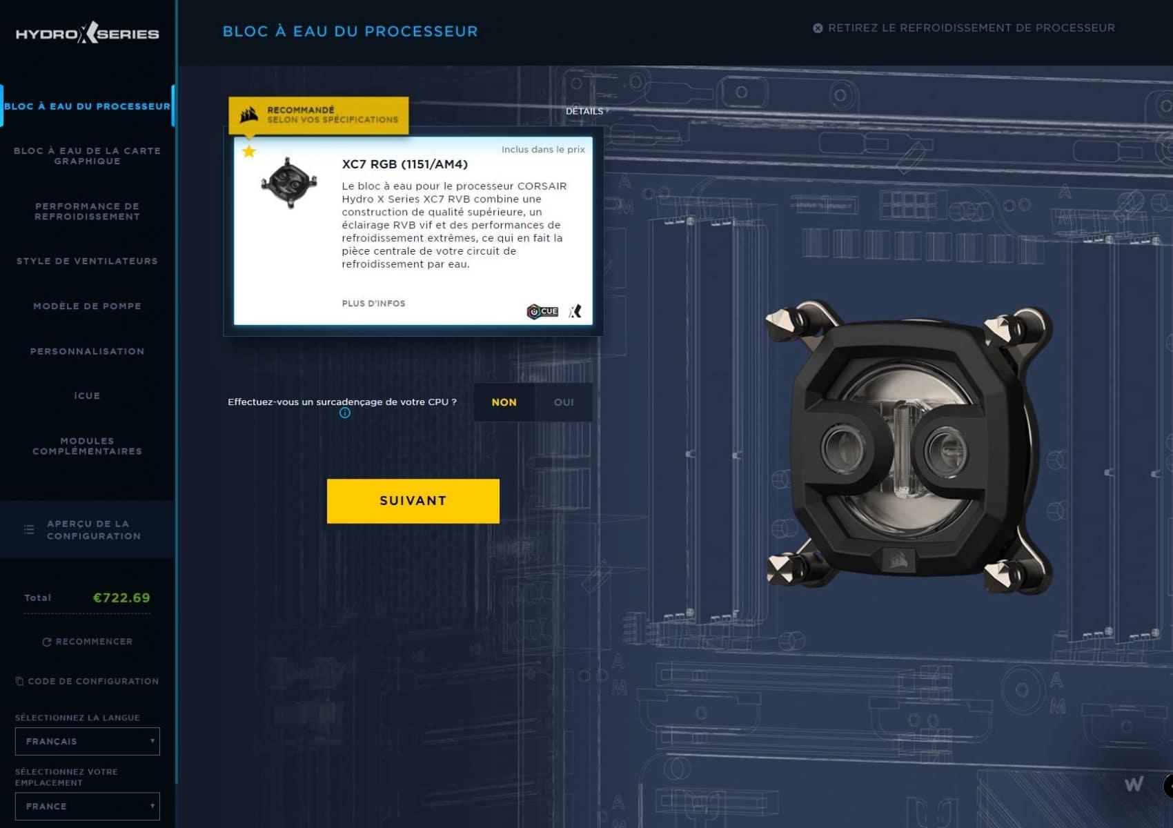 Configurateur watercooling Corsair Hydro X Series waterblock CPU