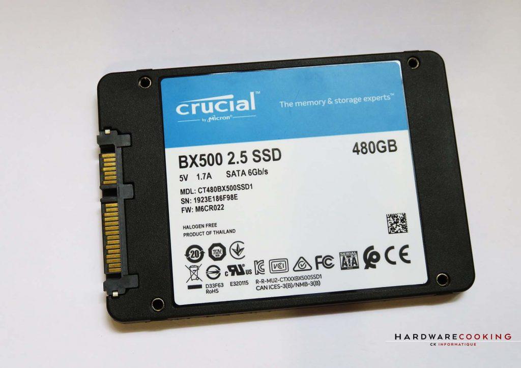 SSD Crucial BX500 arrière