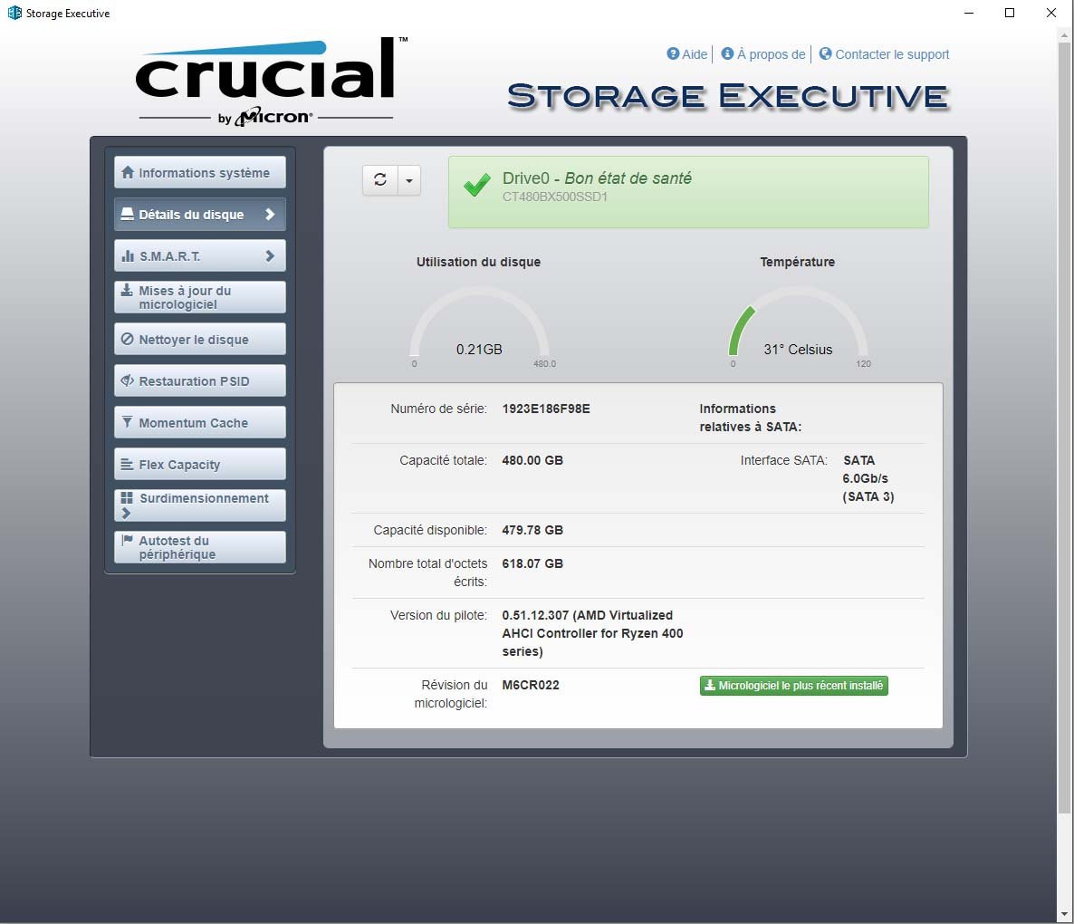 Test : SSD Crucial BX500 480 Go - HardwareCooking