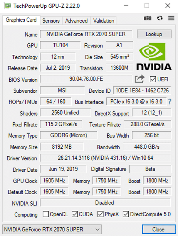 GPU-Z MSI RTX 2070 SUPER GAMING X TRIO