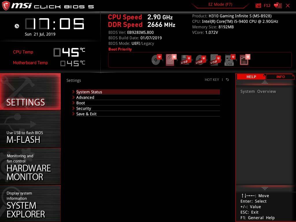 MSI Infinite S 9th bios