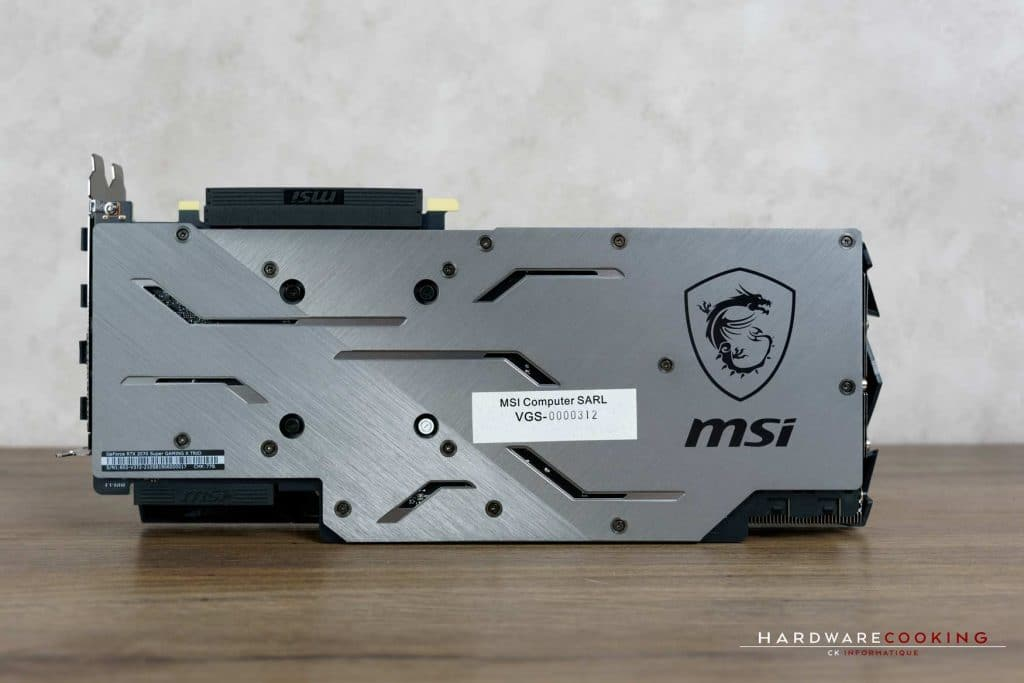 Backplate carte graphique MSI RTX 2070