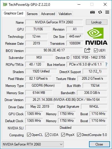MSI Infinite S 9 GPU-Z