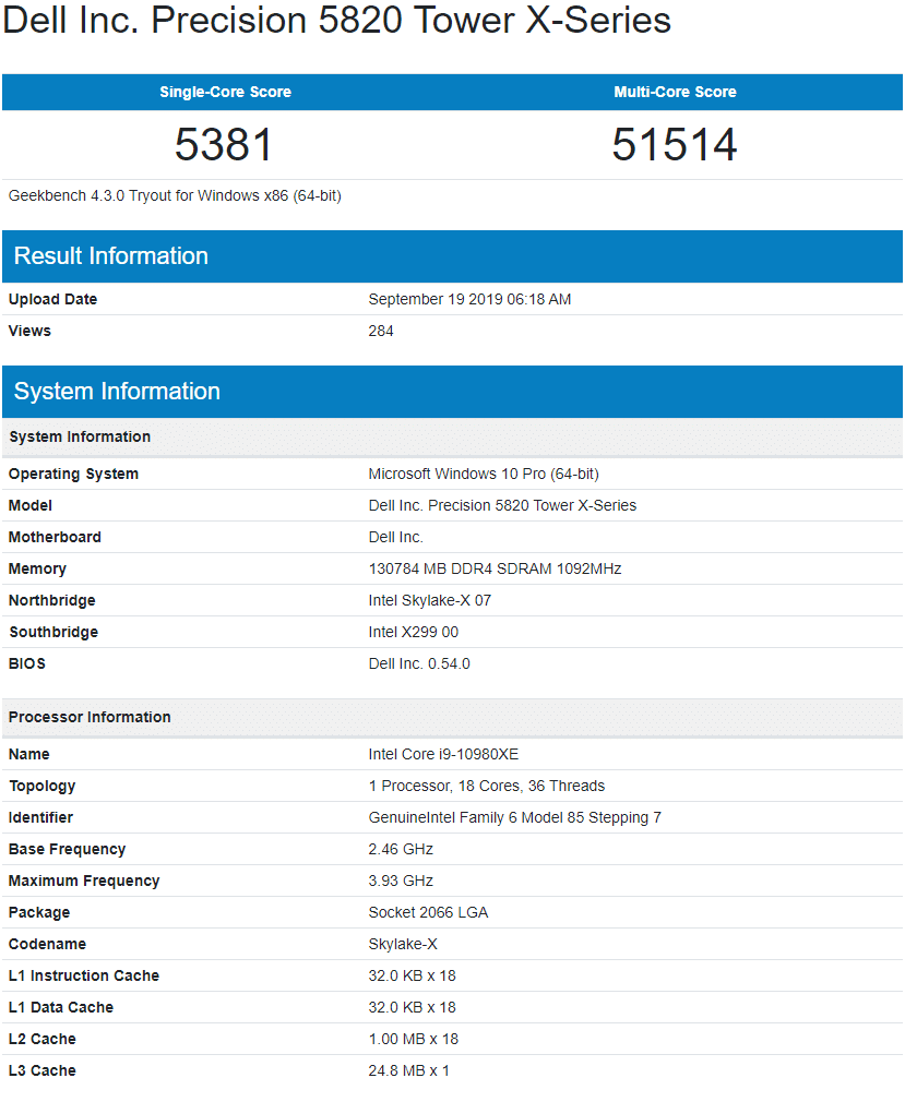 Benchmark processeur Intel Core i9-10980XE Geekbench