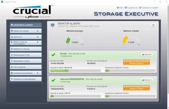 Logiciel Crucial Storage Executive