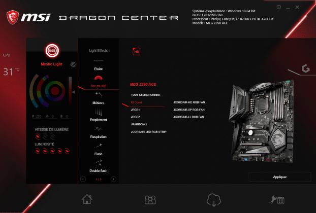 Logiciel MSI Dragon Center MSI MEG Z390