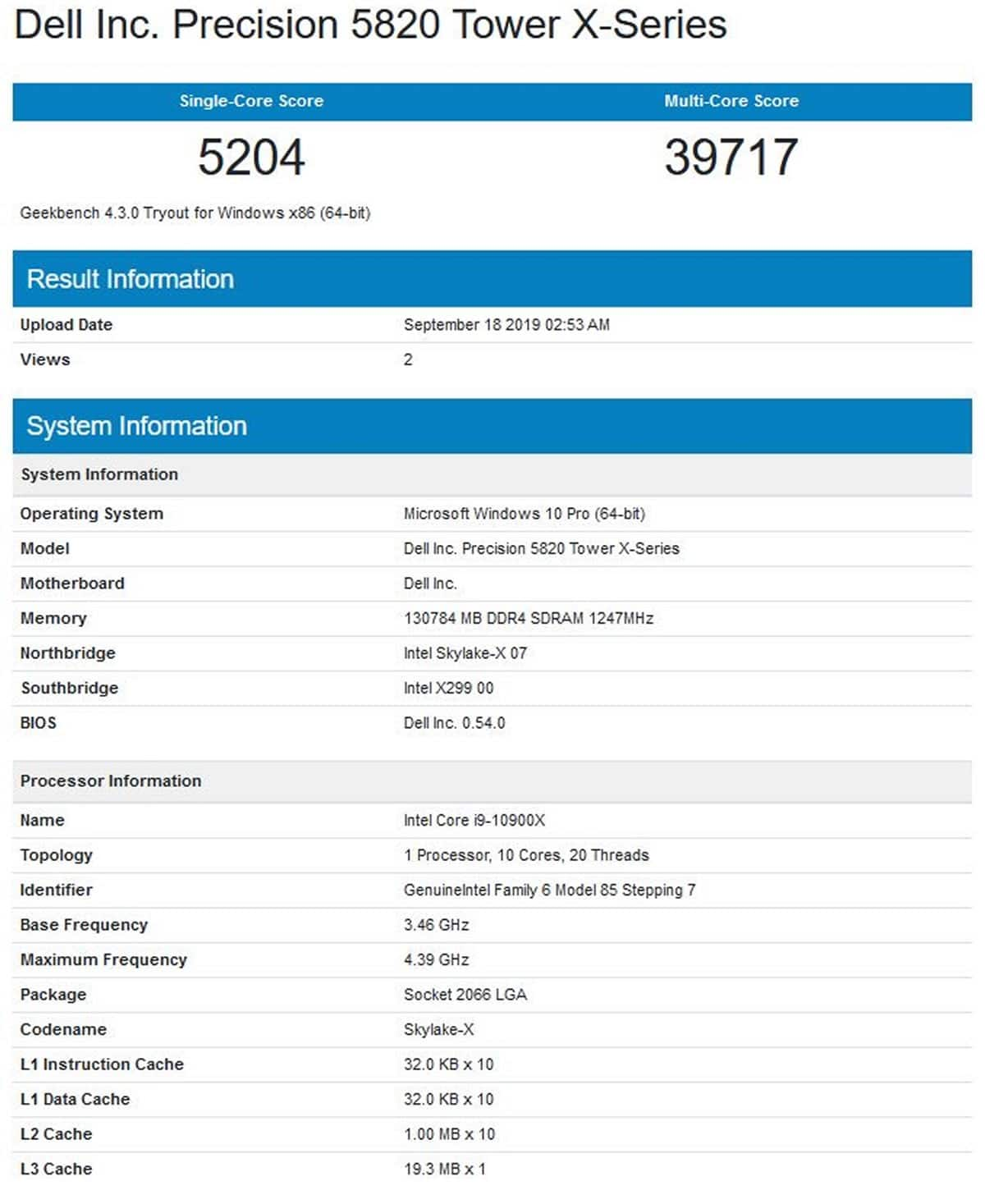 Benchmark processeur Intel Core i9-10900X Geekbench