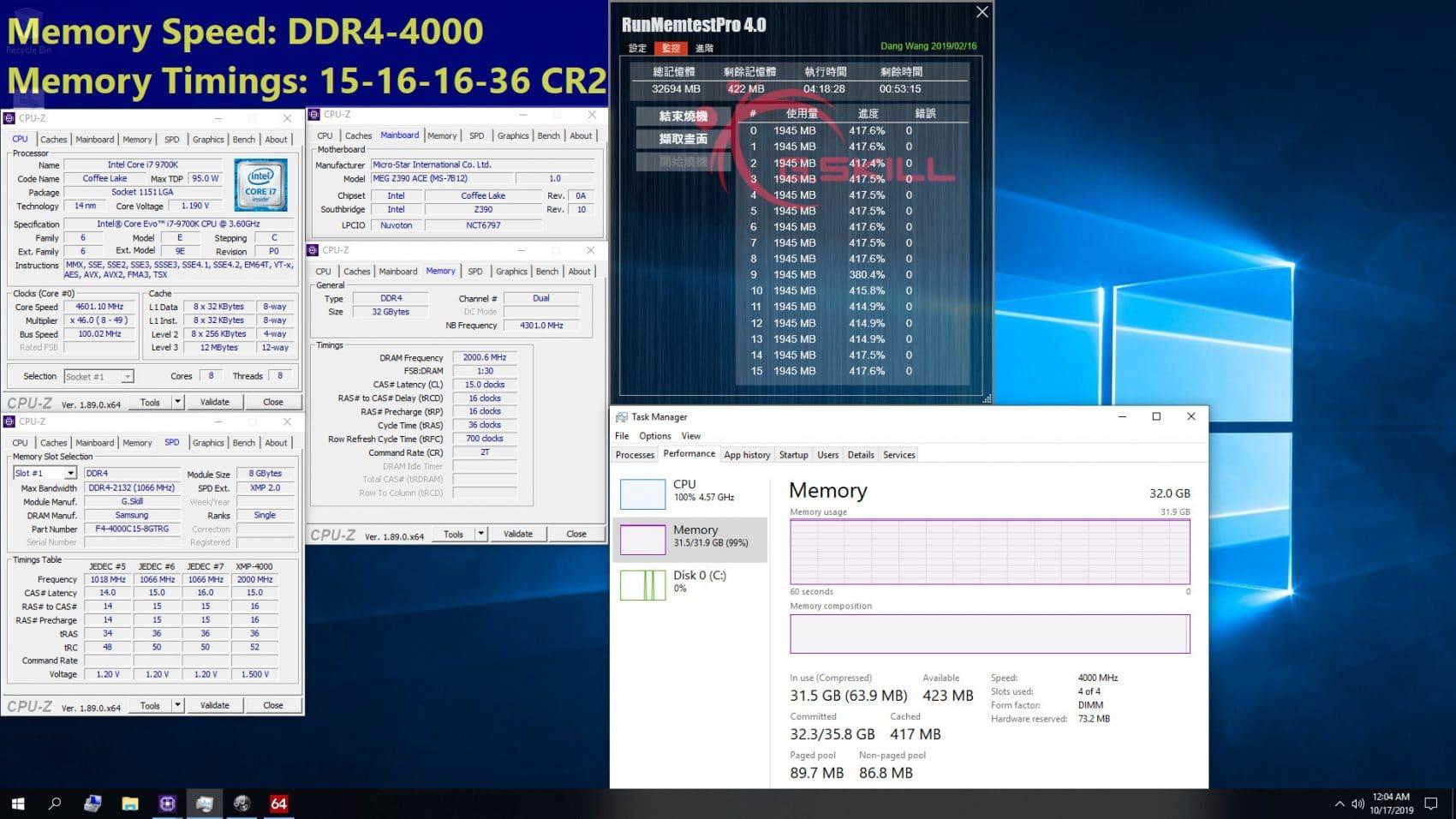 g.skill et intel 9700k