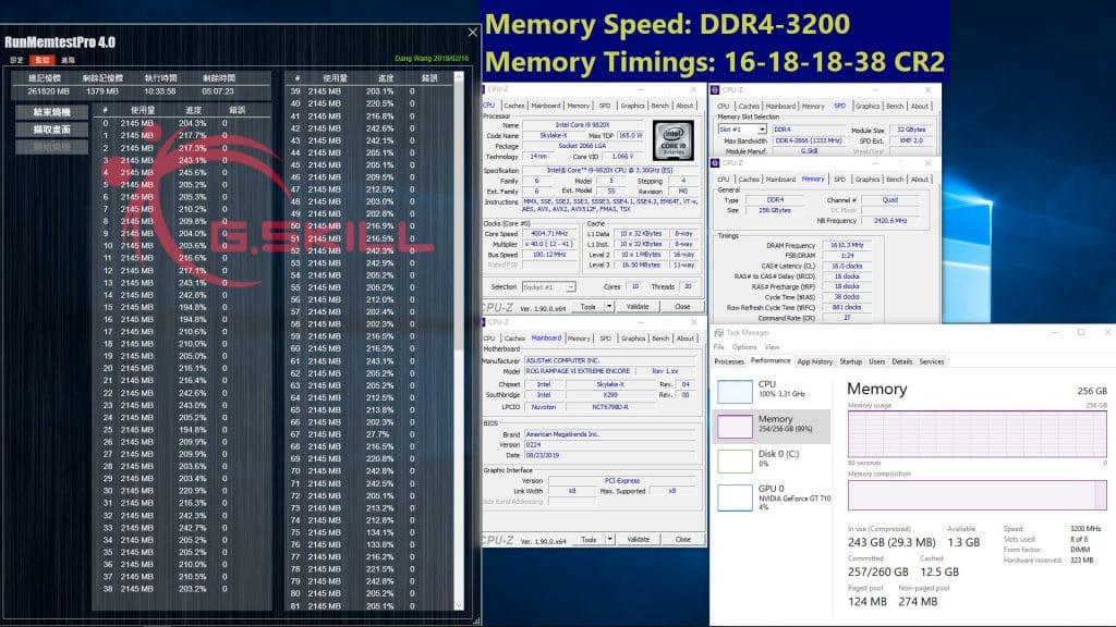 G.Skill Trident Z Royal 3200 MHz 256 Go