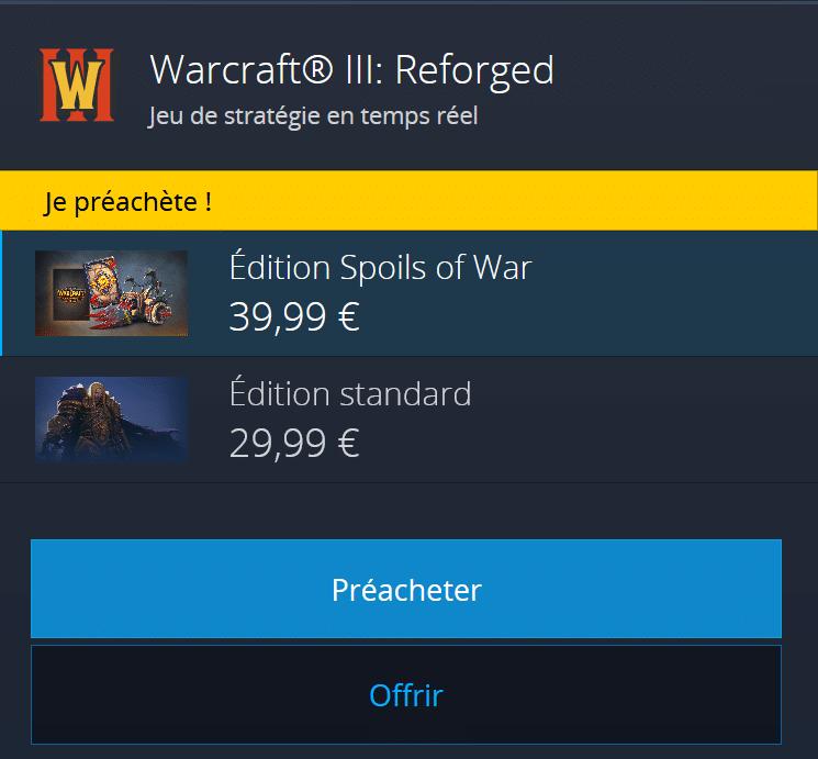 precommande warcraft lll: Reforged