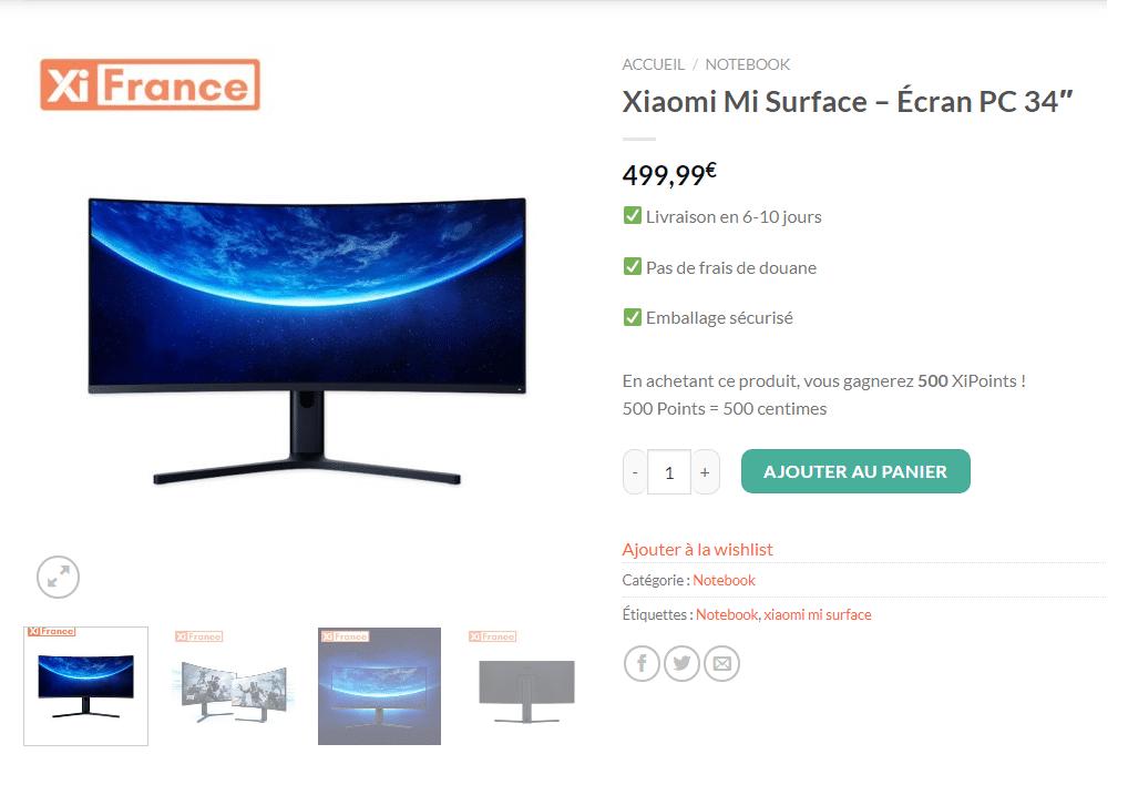 Xiaomi mi surface prix en france