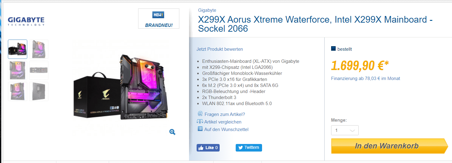 Prix X299X AORUS Xtreme Waterforce