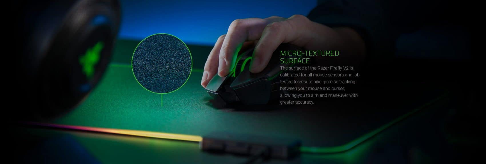 Razer Firefly v2 rgb texture de la surface