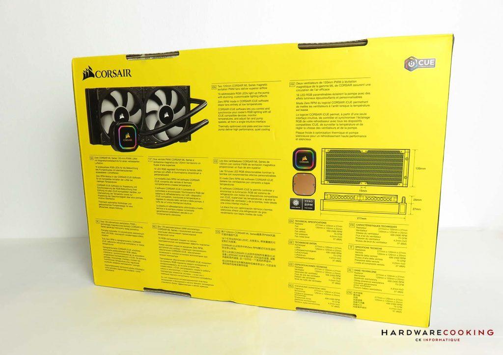 Corsair iCUE H100i RGB Pro XT boîte arrière