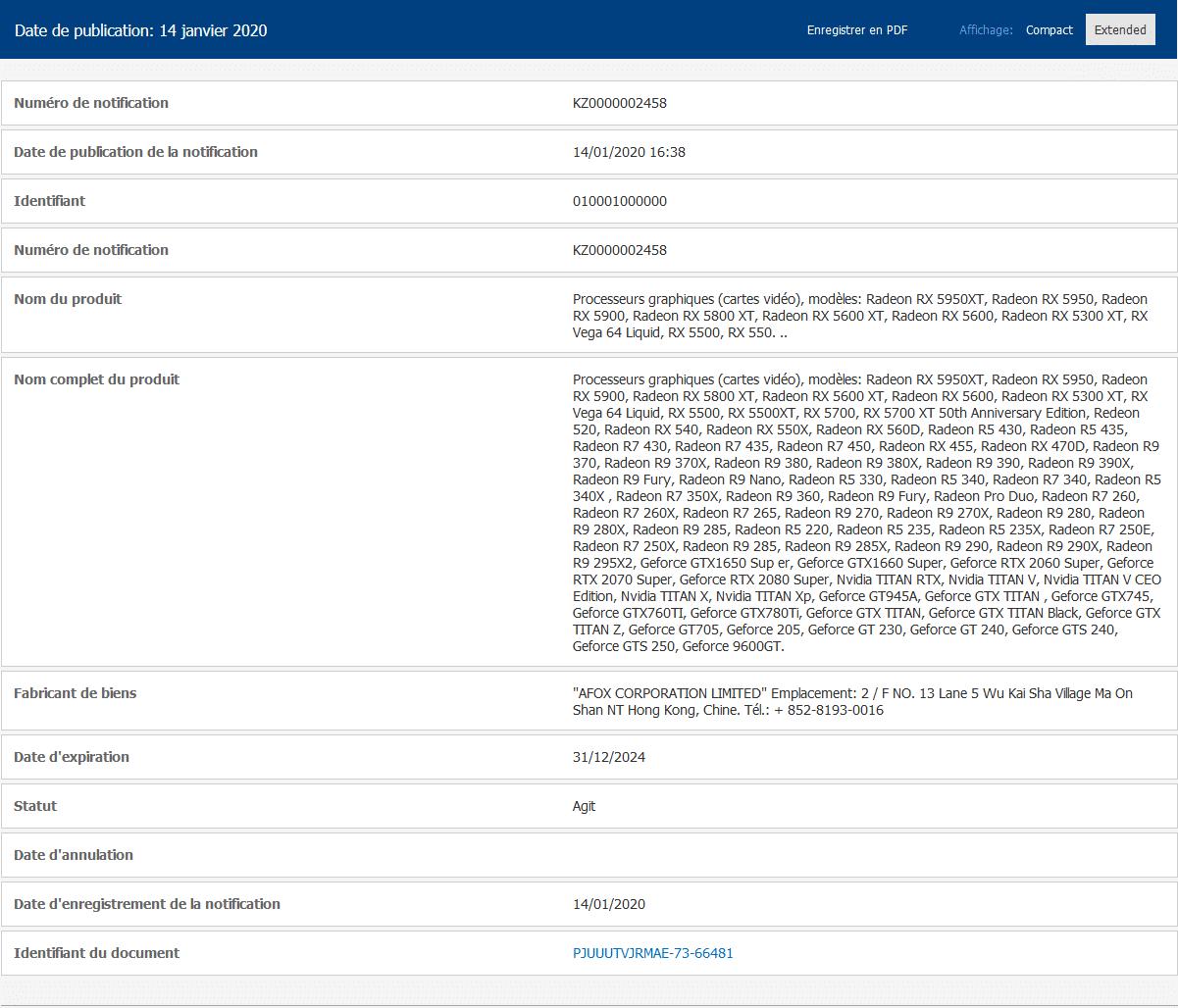 Inscription CEE AMD Radeon RX 5800 XT, RX 5900 XT, RX 5950 et RX 5950 XT