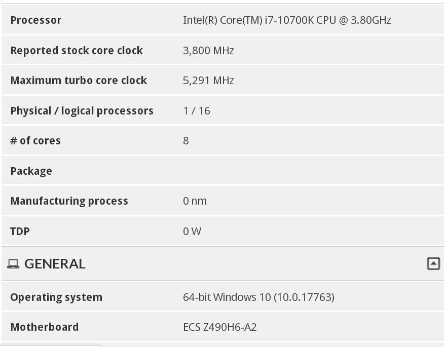 Aperçu Turbo boost Intel Core I7-10700K