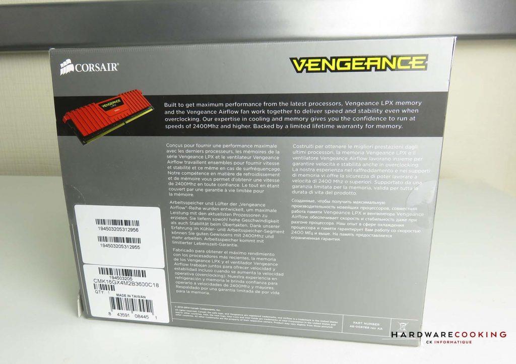 Test Corsair Vengeance LPX 3600 MHz boîte
