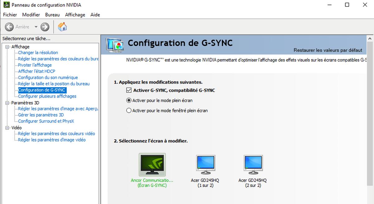 Comment activer le taux de rafraîchissement variable NVIDIA G-Sync