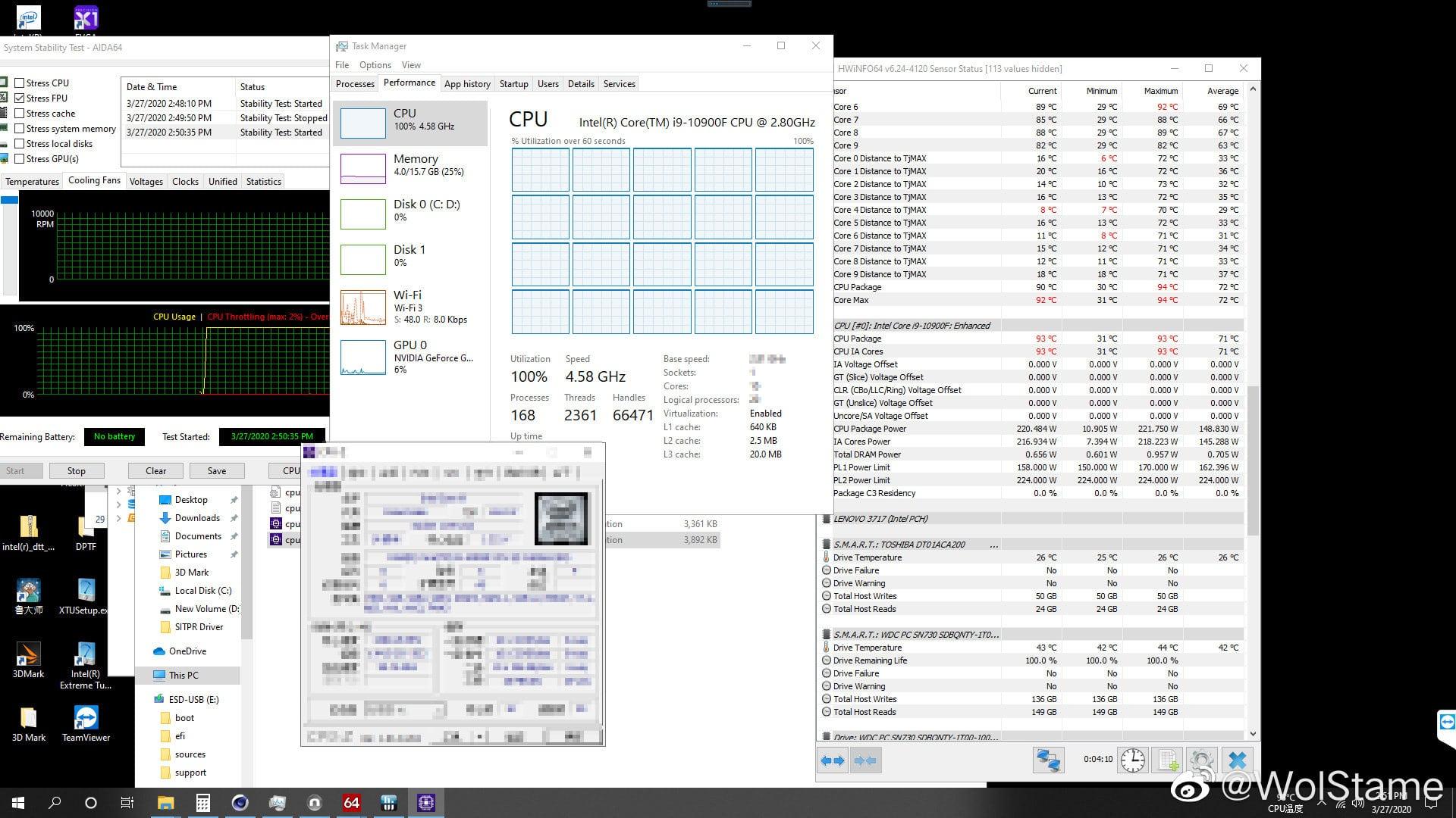Consommation processeur Intel Core i9-10900F