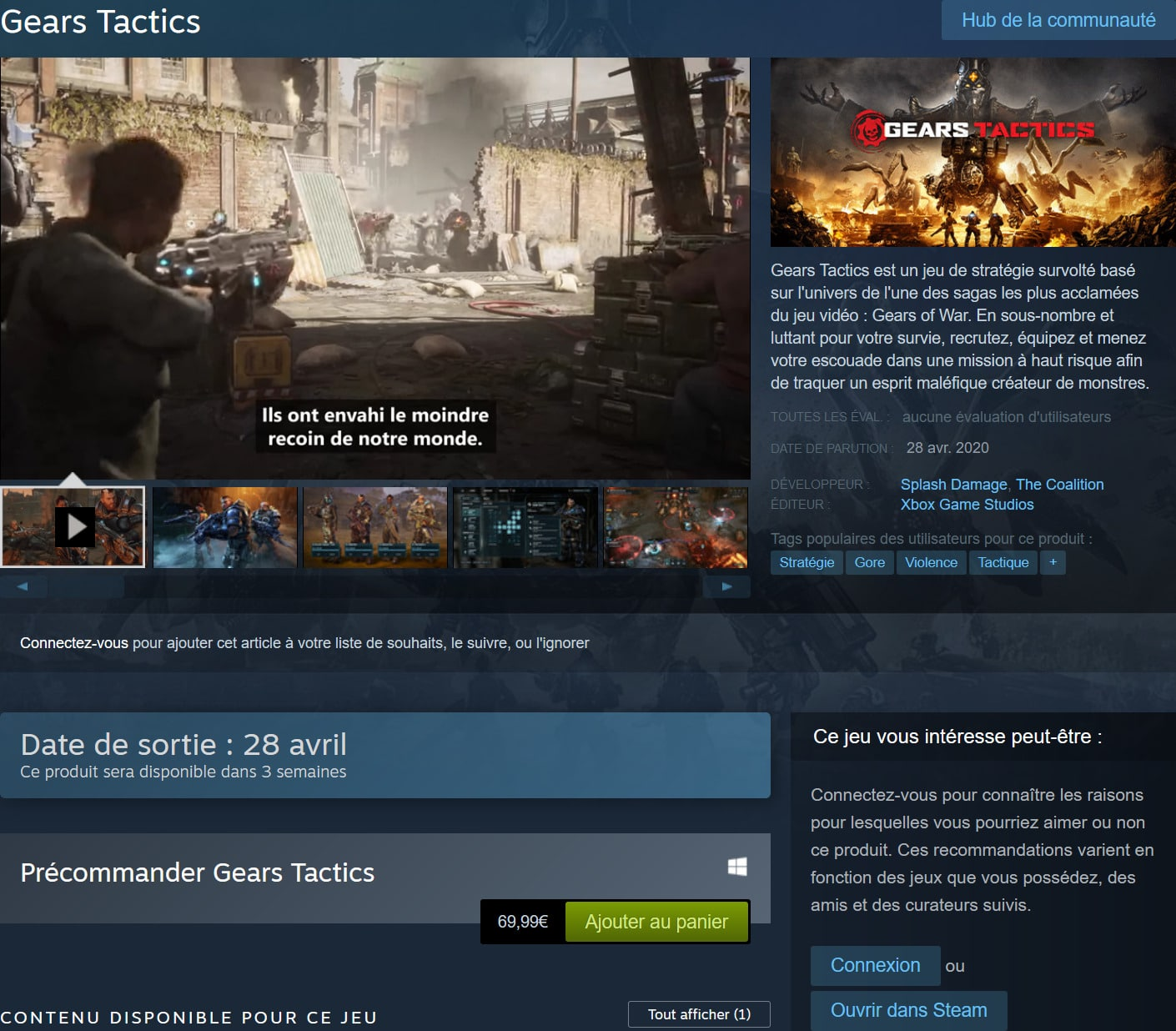Gears Tactics précommande Steam