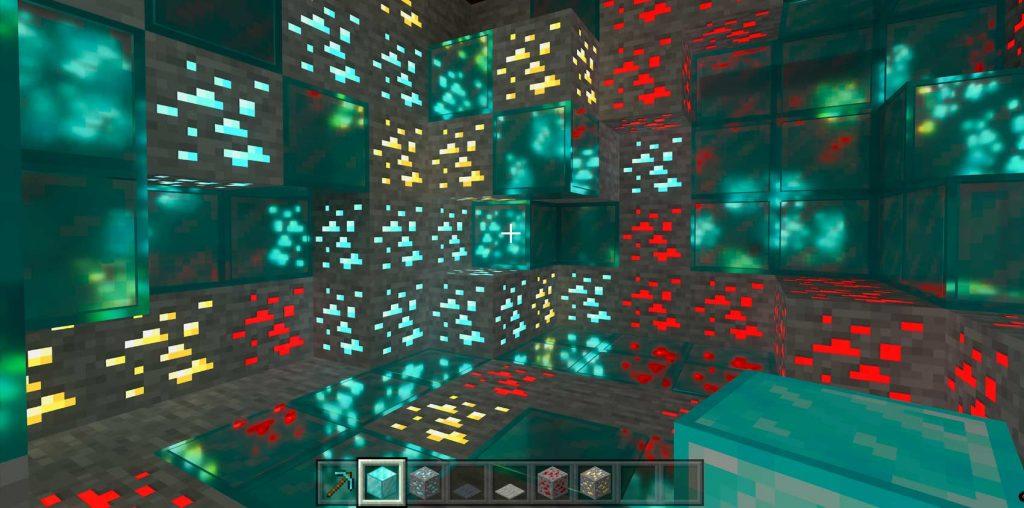 Minecraft RTX On PBR minerais